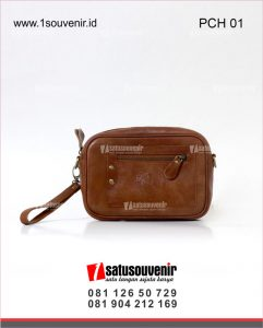 souvenir perusahaan pouch kulit